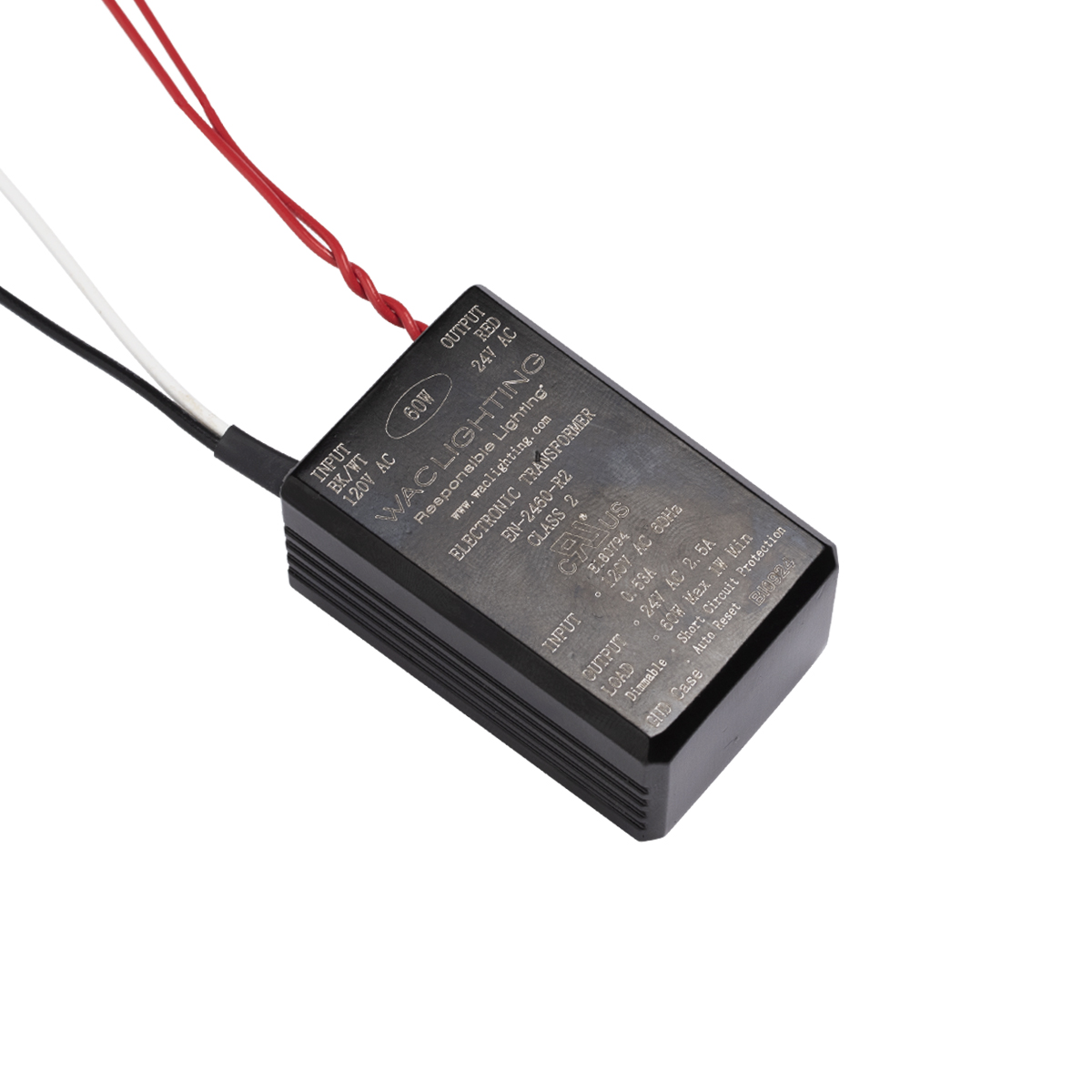 Black WAC Lighting EN-2460-P-AR-S 120V Input 24V Output 60W Plug-in Electronic Transformer for Line and Straight Edge